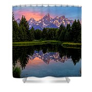 Teton Mornig Glow  Shower Curtain