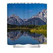 Teton Mountains Reflection Shower Curtain