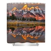 Teton Mountains Sunrise Rainbow Shower Curtain