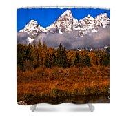 Teton Peaks Above Fall Foliage Shower Curtain