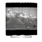 Teton Range Charcoal Sketch Shower Curtain
