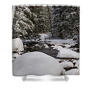 Teton River In Winter Shower Curtain