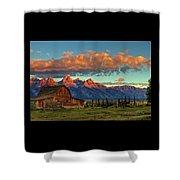 Tetons Barn Shower Curtain