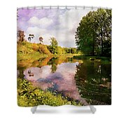 Teviot River Near Kelso. Shower Curtain
