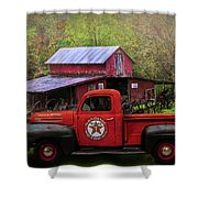 Texaco Truck On A Smoky Mountain Farm In Colorful Textures  Shower Curtain
