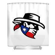 Texas Bandit Cowboy Side Retro Shower Curtain