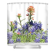 Texas Bluebonnets And Red Indian Paintbrushes Shower Curtain