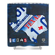 Texas License Plate Map Shower Curtain