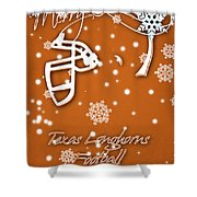 Texas Longhorns Christmas Card Shower Curtain