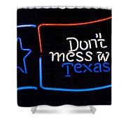 Texas Neon Sign Shower Curtain