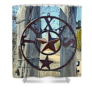Texas Star Rustic Iron Sign Shower Curtain