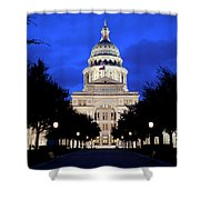 Texas State Capitol Floodlit At Night, Austin, Texas - Stock Image Shower Curtain