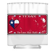 Texas State License Plate With Damage Shower Curtain