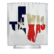 Texas Typography Map Flag Shower Curtain