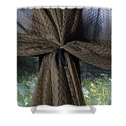 Texture And Lace Shower Curtain