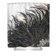 Textured Black Sunflower Shower Curtain