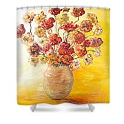 Textured Flowers In A Vase Shower Curtain