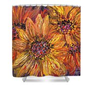 Textured Gold And Red Sunflowers Shower Curtain