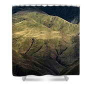 Textured Hills Panoramic Shower Curtain