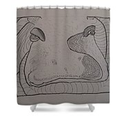 Textured Hippo Shower Curtain by AJ Brown