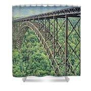 Textured New River Gorge Bridge Shower Curtain