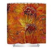 Textured Sunflowers Shower Curtain
