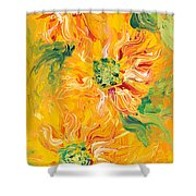 Textured Yellow Sunflowers Shower Curtain