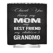 Thank You Mom Chalkboard Typography Shower Curtain