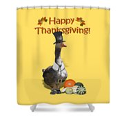 Thanksgiving Pilgrim Goose Shower Curtain