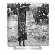 Tharu Rice Winnow Shower Curtain