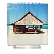 Thatched Roof Cottage/shack On A Perfect White Sand Tropical Beach Bali, Indonesia Shower Curtain