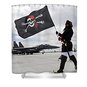 The 428th Fighter Squadron Buccaneer Shower Curtain