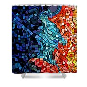 The Abstract Kiss Shower Curtain