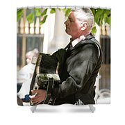 The Accordionist Shower Curtain
