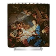 The Adoration Of The Shepherds Shower Curtain by Charle van Loo