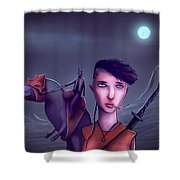 The Adventures Of Punk Sword Girl And The Dragon Rabbit  Shower Curtain