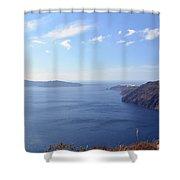 The Aegean Sea In The Volcanic Are Of Santorini, Greece Shower Curtain