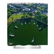 The Aerial View Of The Marina Of Mamaroneck Shower Curtain
