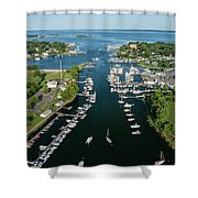 The Aerial View To The Mamaroneck Marina, Westchester County Shower Curtain