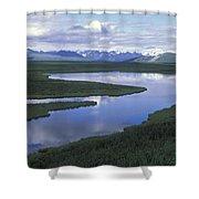 The Alaska Range Reflecting In A Lake Shower Curtain