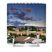 The Alhambra Palace And Albaicin At Sunset Shower Curtain
