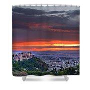 The Alhambra And Granada City Shower Curtain