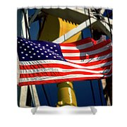 Tribute To The American Flag Oil Industry Shower Curtain
