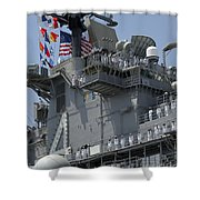 The Amphibious Assault Ship Uss Boxer Shower Curtain by Stocktrek Images