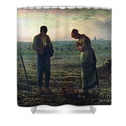The Angelus Shower Curtain by Jean-Francois Millet