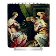 The Annunciation Shower Curtain by Giorgio Vasari