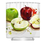 The Apple Focus Shower Curtain