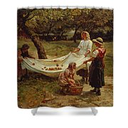 The Apple Gatherers Shower Curtain by Frederick Morgan