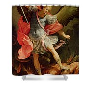 The Archangel Michael Defeating Satan Shower Curtain