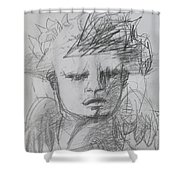The Archangel Michael By Alice Iordache Original Drawing Shower Curtain